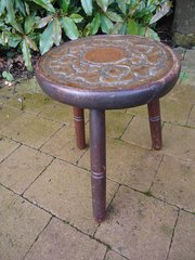 Arts & Crafts fireside stool with brass seat