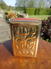Arts & Crafts floral brass bookends