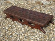 Arts & Crafts foot stool with plaited leather seat