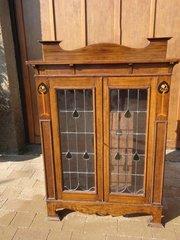 Arts & Crafts glazed oak bookcase.