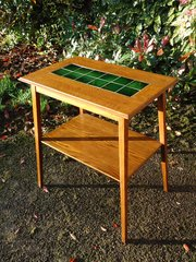 Arts & Crafts green tiled top table by Liberty