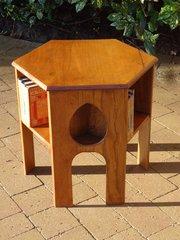 Arts & Crafts hexagonal oak book table
