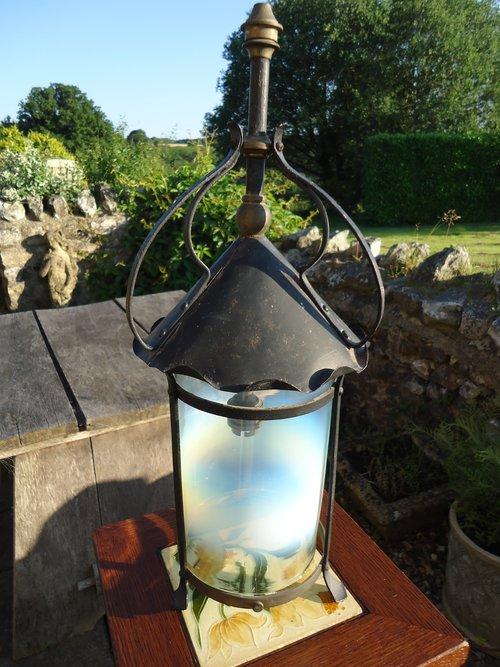 Arts & Crafts lantern with vaseline shade