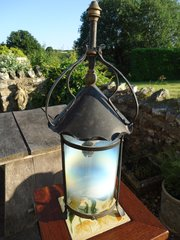 Arts & Crafts lantern with vaseline shade