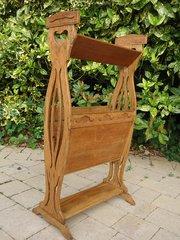 Arts & Crafts magazine stand in oak