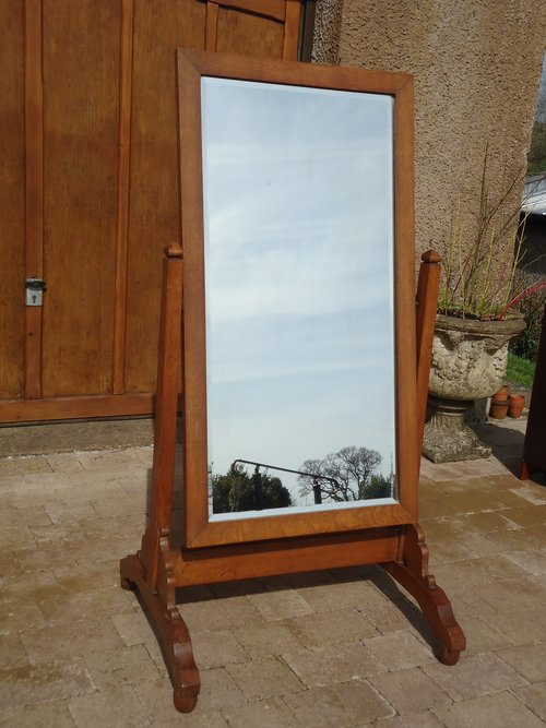 Arts & Crafts oak Cheval mirror