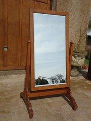 Arts & Crafts oak Cheval mirror