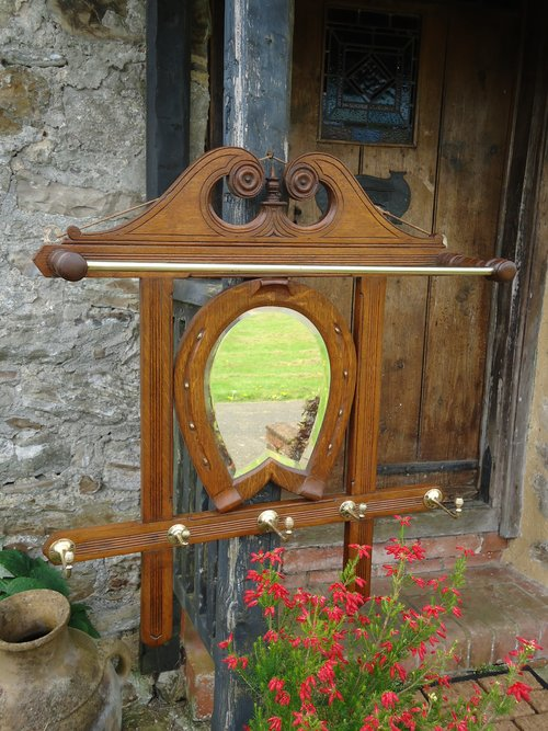 Arts & Crafts oak Equestrian mirror
