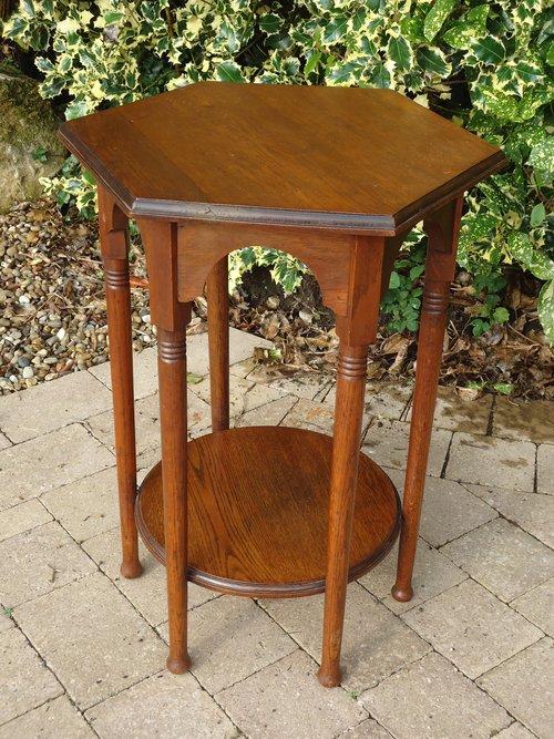 Arts & Crafts oak Moorish table.