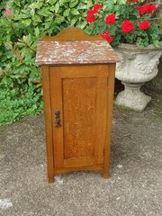 Arts & Crafts oak bedside cupboard with marble top