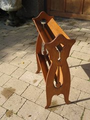 Arts & Crafts oak book stand with piercings