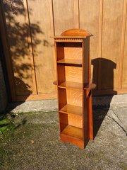Arts & Crafts oak bookcase with side shelves