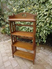 Arts & Crafts oak bookcase with Gothic arches