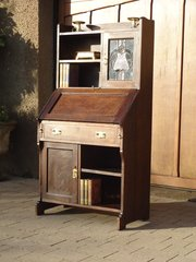 Arts & Crafts oak bureau bookcase for Liberty