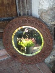 Arts & Crafts oak carved mirror