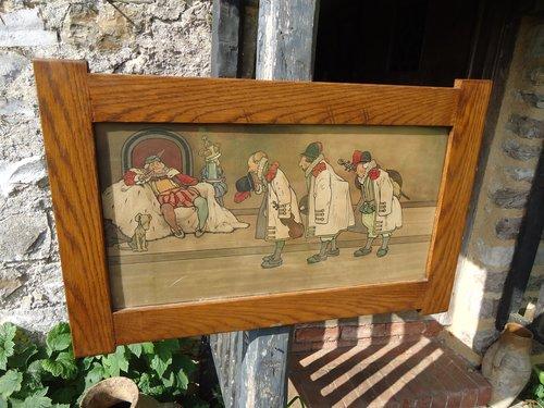 Arts & Crafts oak framed John Hassall print