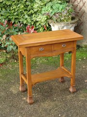 Arts & Crafts oak games table with drawers