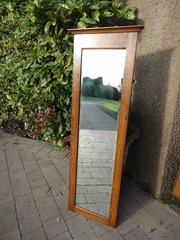 Arts & Crafts oak hall mirror