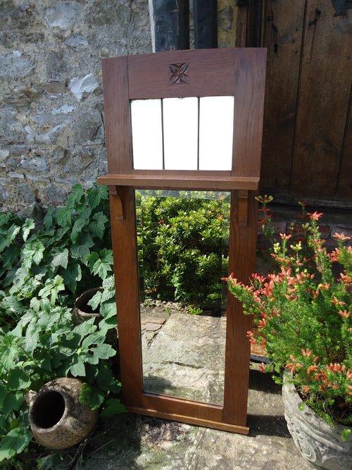 Arts & Crafts oak hall mirror with shelf