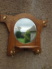 Arts & Crafts oak hall mirror with hooks