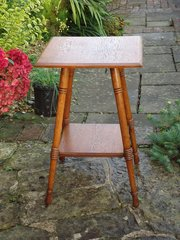 Arts & Crafts oak lamp table by William Birch