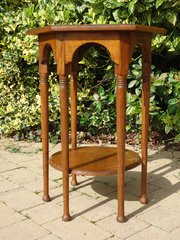Arts & Crafts oak lamp table in the Moorish style