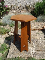 Arts & Crafts oak lamp table with trefoil piercing