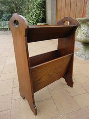 Arts & Crafts oak magazine and book stand