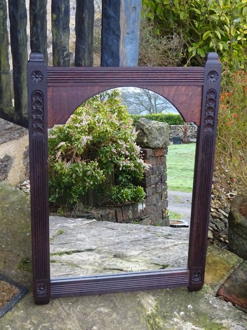 Arts & Crafts  carved oak mirror with flowers