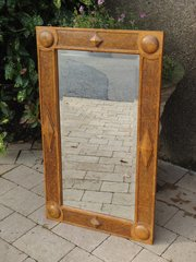 Arts & Crafts oak mirror with bosses and diamonds