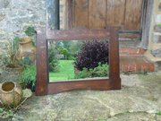 Arts & Crafts oak overmantle. Mirror