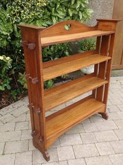 Arts & Crafts oak pegged bookcase with heart
