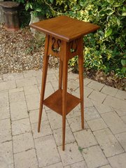 Arts & Crafts oak plant stand with piercings