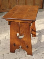 Arts & Crafts oak side table. Liberty