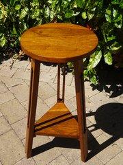 Arts & Crafts oak table on a tripod base