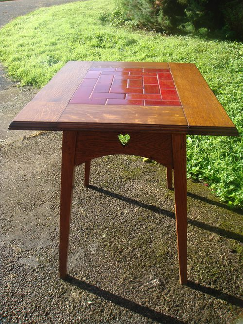 Arts & Crafts oak tiled conservatory table