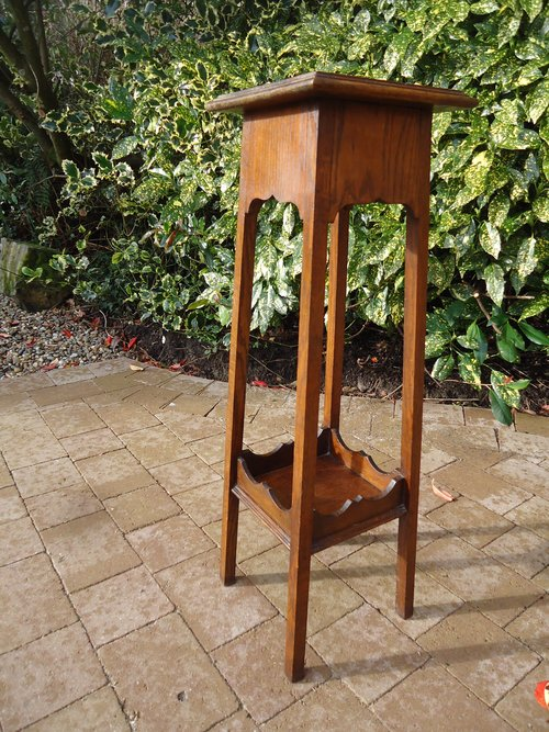 Arts & Crafts oak two tiered plant stand