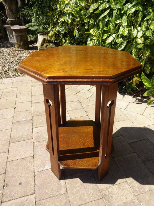 Arts & Crafts octagonal table on pierced legs
