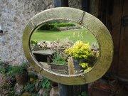 Arts & Crafts oval brass mirror
