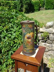 Arts & Crafts painted tin jug with lid