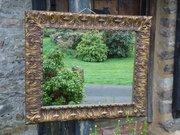 Arts & Crafts pine gilded mirror