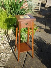Arts & Crafts oak plant stand with tile. Liberty
