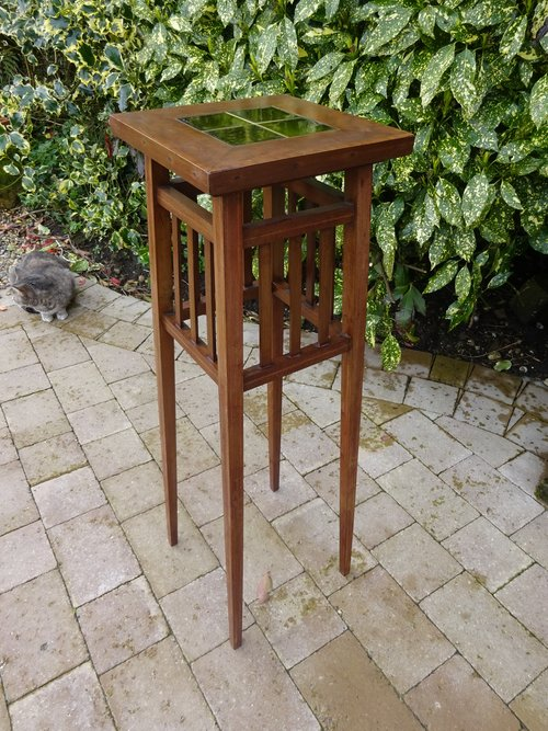Arts & Crafts plant stand with green tiled top