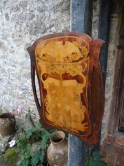 Arts & Crafts pokerwork  cabinet with owl
