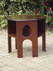 Arts & Crafts round book teardrop table in oak