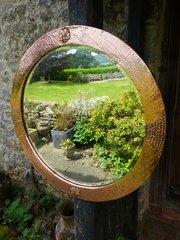 Arts & Crafts round copper mirror