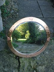 Arts & Crafts round copper mirror