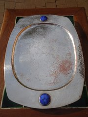 Arts & Crafts silver plated copper tray