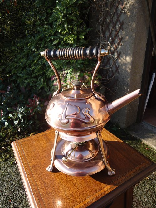 Arts & Crafts spirit kettle on stand