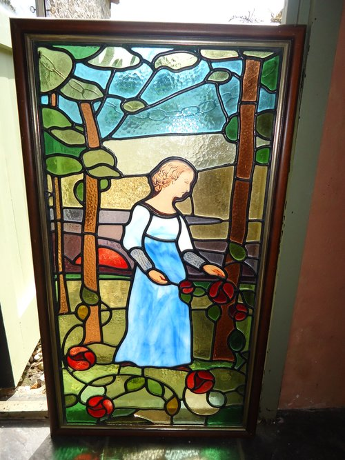 Arts & Crafts stained glass window panel